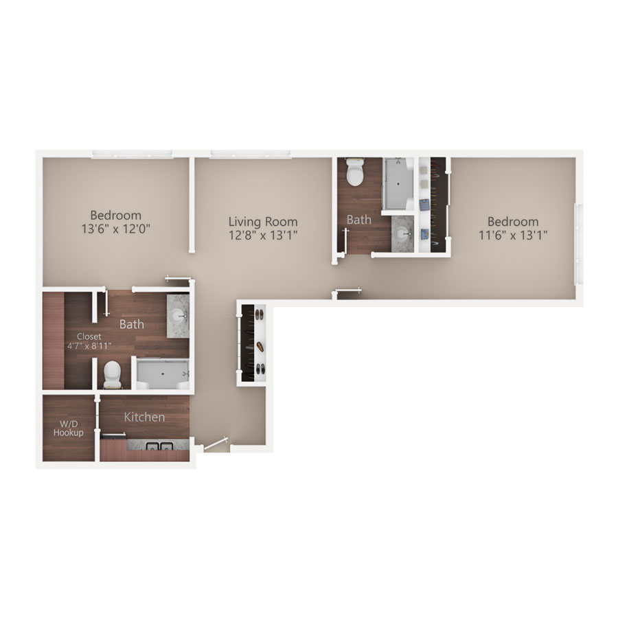 Sycamore Reserve Senior Living Poplar apartment floor plan