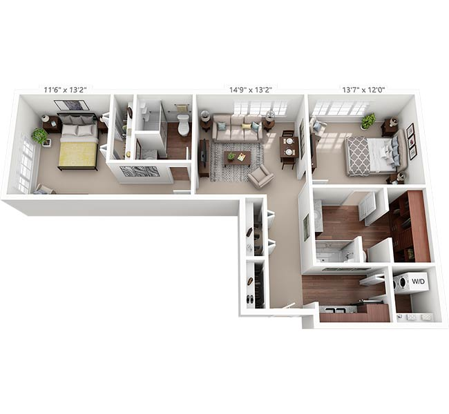 Sycamore Reserve Magnolia Two Bedroom 3D Floor Plan